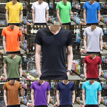 T-shirt Youth fashion routine S,M,L,XL,2XL,3XL,4XL,5XL Others Short sleeve V-neck Self cultivation daily summer Polyester 95% polyurethane elastic fiber (spandex) 5% teenagers routine tide Solid color No iron treatment