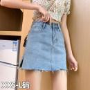 skirt Summer 2021 XXS,XS,S,M,L Blue [split], blue [no split] Short skirt commute High waist Denim skirt Solid color Type A 18-24 years old 81% (inclusive) - 90% (inclusive) Denim Other / other Korean version