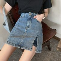 skirt Summer 2021 XS,S,M,L Retro Blue Short skirt commute High waist A-line skirt Solid color Type A 18-24 years old Denim Other / other