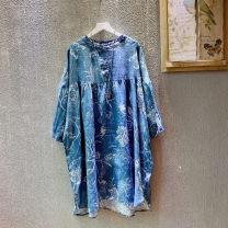 Dress Spring 2021 Blue, hemp Average size Middle-skirt singleton  Nine point sleeve commute Crew neck High waist Decor other Big swing Bat sleeve Type A Retro F081 71% (inclusive) - 80% (inclusive) hemp