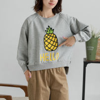 Sweater / sweater Autumn 2020 Light grey One size fits all Long sleeves routine Socket singleton  routine Crew neck commute routine 96% and above literature cotton Asymmetric printing stitching cotton