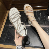 Sandals 35,36,37,38,39,40 Black, green, beige PU Other / other Barefoot Flat bottom Middle heel (3-5cm) Summer 2021 Trochanter Korean version Solid color Adhesive shoes Youth (18-40 years old) rubber daily Ankle strap rhinestone Low Gang Lateral space PU PU Roman shoes Shaving
