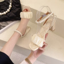 Sandals 35,36,37,38,39,34 Purple, beige cloth Other / other Barefoot Thick heel High heel (5-8cm) Summer 2021 Flat buckle Korean version Solid color Adhesive shoes Youth (18-40 years old) rubber daily Ankle strap Beaded, thick heel, Roman style Low Gang Hollow PU PU Roman shoes