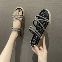 Sandals 35,36,37,38,39,40 Black, green, beige PU Other / other Barefoot Flat bottom Middle heel (3-5cm) Summer 2021 Trochanter Korean version Solid color Adhesive shoes Youth (18-40 years old) rubber daily Ankle strap rhinestone Low Gang Hollow PU PU Roman shoes Shaving