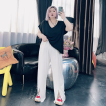 Women's large Spring 2021 Black, gray, blue, purple, apricot Large XL, large XXL, large XXL, large 4XL trousers singleton  commute easy moderate Other, solid Korean version Others, cotton 25-29 years old pocket trousers