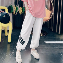 Women's large Spring 2021, summer 2021 Blue, gray, black, white Big 4XL, big 5XL, big 6xl trousers singleton  commute easy letter Korean version Cotton, others 25-29 years old pocket trousers