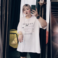 Women's large Spring 2021, summer 2021 Black, white, pink Large XL, large XXL, large XXL, large 4XL T-shirt singleton  commute easy moderate Socket Short sleeve Solid color Korean version Crew neck routine cotton routine 25-29 years old