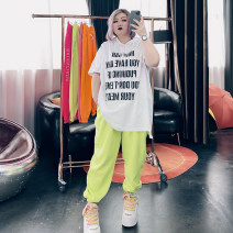 Women's large Spring 2021 Black, orange, fluorescent green, rose red, pink Big 4XL, big 5XL, big 6xl trousers singleton  commute easy moderate letter Korean version Others, cotton 25-29 years old Diamond inlay trousers
