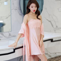 Nightdress Sonny's Poetry Pearl White champagne shrimp pink glittering orange M L XL sexy Short sleeve pajamas Middle-skirt summer Solid color youth One word collar Polyester (polyester) More than 95% AP8002 Summer of 2018 Polyester 96% polyurethane elastic fiber (spandex) 4%