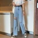 Jeans Summer 2021 Picture color - HMW S,M,L,XL trousers High waist Straight pants Thin money 18-24 years old Cotton denim light colour 7E39E3070 51% (inclusive) - 70% (inclusive)