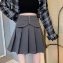 skirt Spring 2021 XS,S,M,L Gray-8qp, white-9hi, black-oeu Short skirt commute High waist Pleated skirt Solid color Type A 18-24 years old 4B30E307 51% (inclusive) - 70% (inclusive) polyester fiber Korean version