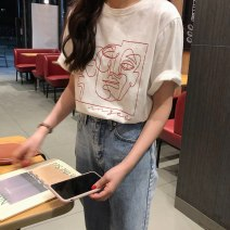 T-shirt White, black Spring 2020 Short sleeve Crew neck Straight cylinder Regular routine commute cotton 96% and above 18-24 years old Korean version