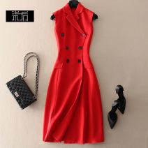 Dress Winter of 2019 Red, black, navy S,M,L,XL Mid length dress singleton  Sleeveless commute tailored collar High waist double-breasted A-line skirt Simplicity