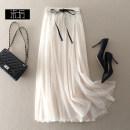 skirt Spring of 2019 S,M,XL,L Apricot, dark blue, black longuette High waist Fairy Dress Solid color Type A X9086