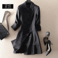 Dress Winter 2020 Black, dark blue S,M,L,XL Mid length dress singleton  three quarter sleeve commute tailored collar High waist Solid color double-breasted A-line skirt Simplicity 0L280 More than 95% wool
