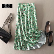 skirt Summer 2021 S,M,L Green, yellow Mid length dress grace High waist A-line skirt Type A 1X099 More than 95% polyester fiber