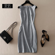 Dress Autumn 2020 Grey, dark blue L,XL,S,M Middle-skirt singleton  Sleeveless commute One word collar High waist Solid color zipper One pace skirt Others Type A Ol style L8158 91% (inclusive) - 95% (inclusive) other wool