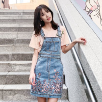 Dress Summer of 2019 Light blue S,M,L,XL Short skirt singleton  Sleeveless Sweet One word collar High waist Solid color Socket A-line skirt straps 25-29 years old Type A Mibao Embroidery J91008 More than 95% Denim cotton college