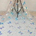 Fabric / fabric / handmade DIY fabric Netting White bottom blue, foundation fantasy, black background. Loose shear piece Plants and flowers other clothing Europe and America Butterfly with beads Guangdong Province Guangzhou City Chinese Mainland