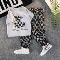 suit Other / other Black, white, gray, green 90cm,100cm,110cm,120cm,130cm,140cm,150cm male summer Korean version Short sleeve + pants 2 pieces Thin money There are models in the real shooting Socket nothing Cartoon animation other children Expression of love Shuai Shuai Z Class B Other 100%