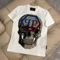 T-shirt Youth fashion White, black routine M,L,XL,2XL,3XL,4XL Piplan Short sleeve Crew neck standard Other leisure summer G05 routine tide 2021 skull Hot drilling cotton Creative interest More than 95%