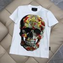 T-shirt Youth fashion White, black routine M,L,XL,2XL,3XL,4XL Piplan Short sleeve Crew neck standard Other leisure summer G06 routine tide 2021 skull Hot drilling cotton Creative interest More than 95%