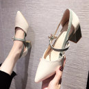 Sandals 35, 36, 37, 38, 39 PU Other / other Sharp point Thick heel High heel (5-8cm) Spring 2021 Trochanter Korean version Solid color Adhesive shoes Youth (18-40 years old) rubber banquet Bag heel Low Gang Hollow PU PU Flat buckle Patent leather
