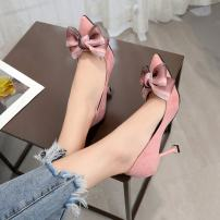 Low top shoes 35,36,37,38,39 Charming style Black, red, pink Sharp point Suede Fine heel High heel (5-8cm) Shallow mouth PU Spring 2021 Trochanter Korean version Adhesive shoes Youth (18-40 years old) Solid color rubber Single shoes PU daily Frosting