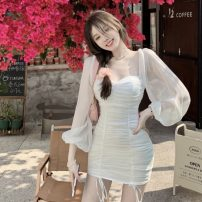 Dress Summer 2021 White, pink S, M Short skirt singleton  Long sleeves commute square neck Solid color One pace skirt puff sleeve Others 18-24 years old Type A D0327