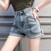 Jeans Spring 2021 blue S,M,L shorts High waist Straight pants routine 18-24 years old Dark color A0220