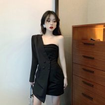 Dress Summer 2020 Black long sleeves, black short sleeves S, M Short skirt singleton  Long sleeves street V-neck middle-waisted Solid color double-breasted Irregular skirt 18-24 years old Type A Other / other #0320 Cellulose acetate