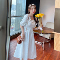 Dress Summer 2021 White, black S,M,L,XL Mid length dress singleton  Short sleeve commute square neck High waist Solid color Socket A-line skirt puff sleeve Others 18-24 years old Type A Korean version D0407