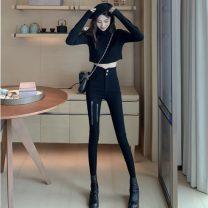 Casual pants black S,M,L Summer 2020 trousers Pencil pants High waist commute 18-24 years old Korean version