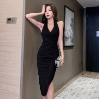 Dress Summer 2020 black S,M,L Middle-skirt singleton  Sleeveless commute V-neck High waist Solid color zipper Irregular skirt Hanging neck style 18-24 years old Type X Retro