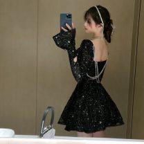 Dress Spring 2021 Shiny black S,M,L Short skirt singleton  Long sleeves commute V-neck High waist Solid color Socket A-line skirt pagoda sleeve 18-24 years old Type A Retro C1224