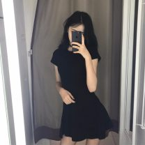 Dress Spring 2021 Apricot, black, brick red Average size Middle-skirt singleton  Short sleeve commute Crew neck High waist Solid color A-line skirt 18-24 years old Type A Korean version #0516