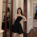 Dress Summer 2021 black S, M Short skirt singleton  Short sleeve commute Polo collar High waist other Socket A-line skirt puff sleeve 18-24 years old Type A Korean version Splicing C0413 other other