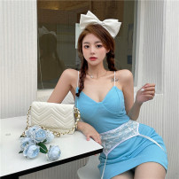Dress Summer 2021 Lace suspender skirt Average size Short skirt singleton  Sleeveless commute V-neck High waist Solid color Socket One pace skirt other camisole 18-24 years old Type A Korean version backless C0331 other