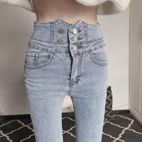 Jeans Spring 2021 Gray, blue S,M,L,XL trousers High waist Pencil pants routine 18-24 years old Cotton elastic denim A0112