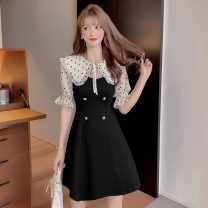 Dress Summer 2021 black S,M,L,XL,2XL Short skirt singleton  Short sleeve Sweet Doll Collar middle-waisted Dot Socket A-line skirt routine Others 18-24 years old Type A 51% (inclusive) - 70% (inclusive) Chiffon cotton