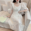 Dress Summer 2021 cream  S,M,L Mid length dress singleton  Short sleeve Sweet square neck High waist Solid color Socket other Others 18-24 years old Type A D0408 81% (inclusive) - 90% (inclusive) Chiffon polyester fiber