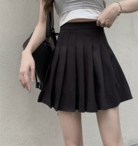 skirt Summer 2021 M,L,XL White, black Short skirt Versatile High waist Pleated skirt Solid color Type A 18-24 years old A0406 other other fold