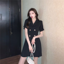 Dress Summer 2021 black S,M,L,XL Short skirt singleton  Short sleeve commute tailored collar Solid color double-breasted A-line skirt Others 18-24 years old Type A D0411 31% (inclusive) - 50% (inclusive) other