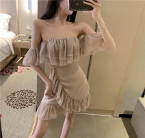 Dress Summer 2020 Apricot, black, white S,M,L Short skirt singleton  Short sleeve commute One word collar High waist Solid color Irregular skirt raglan sleeve Breast wrapping 18-24 years old Type H Korean version Flounce, mesh 31% (inclusive) - 50% (inclusive)