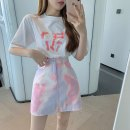 Fashion suit Summer 2021 S. M, l, average size Yellow T-shirt, white T-shirt, yellow grey skirt, blue pink skirt 18-25 years old b0329 cotton