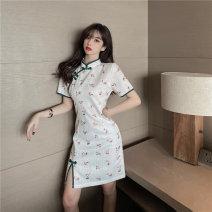 Dress Fall 2017 Green, blue S,M,L singleton  Short sleeve commute 18-24 years old Type H Korean version b0407