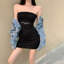 Dress Summer 2021 black Average size Short skirt singleton  Sleeveless commute One word collar High waist letter Socket One pace skirt other Breast wrapping 18-24 years old Type A Korean version C0327
