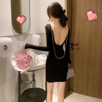 Dress Autumn 2020 Grey, pink, black Average size Short skirt singleton  Long sleeves commute Crew neck High waist Solid color Socket One pace skirt routine Others 18-24 years old Type H Korean version backless