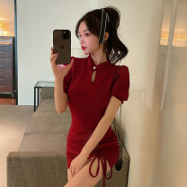 Dress Summer 2021 Retro Red, charming black S,M,L Short skirt singleton  Short sleeve commute stand collar High waist Solid color Socket A-line skirt puff sleeve 18-24 years old Type A Retro Lace up, tuck, cut out C0401 other cotton