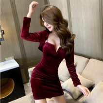 Dress Autumn 2020 S,M,L Short skirt Two piece set Long sleeves commute V-neck High waist Solid color A-line skirt other camisole 18-24 years old Type A Korean version other